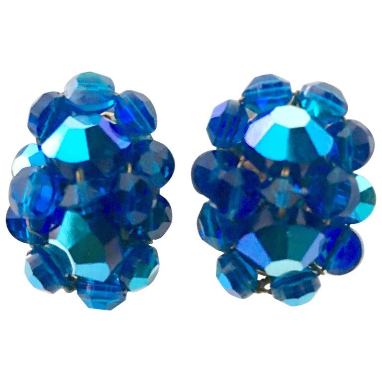 50'S Silver & Peacock Blue Art Glass Bead & Swarovski Crystal Rivoli Earrings For Sale