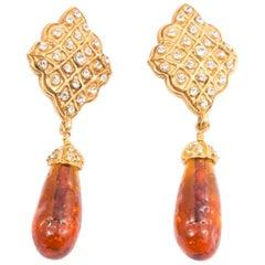 Chanel Long Drop Embellished Clip On Earrings