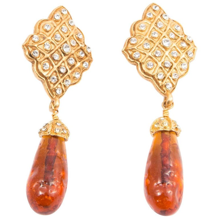 Chanel Long Drop Embellished Clip On Earrings For Sale