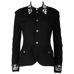 Yohji Yamamoto black wool jacket with silver studs, aw 1997