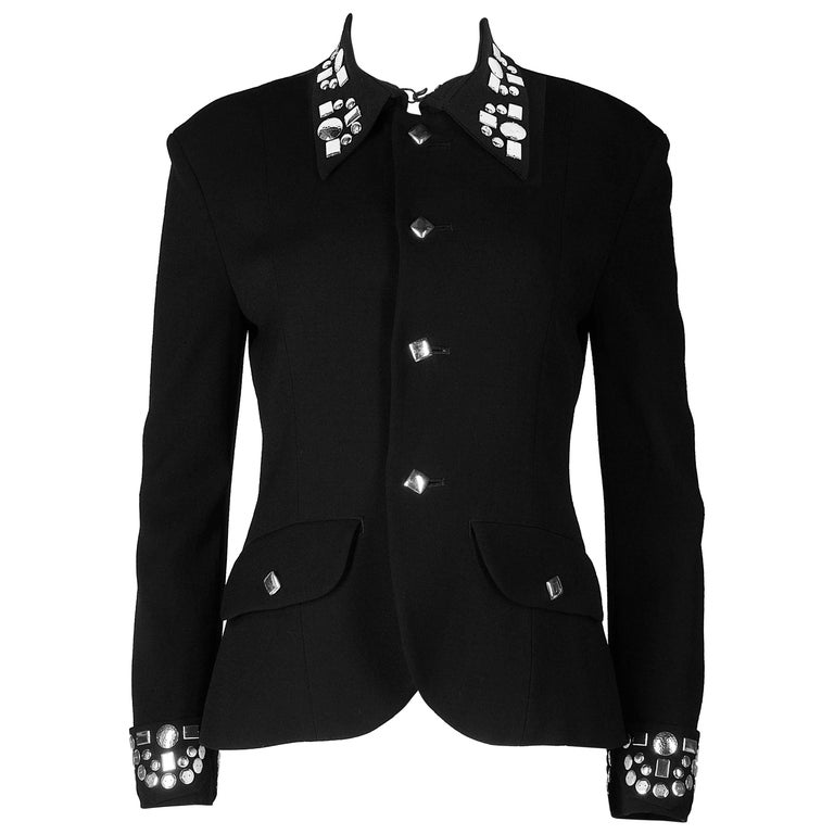 Yohji Yamamoto black wool jacket with silver studs, aw 1997 For Sale