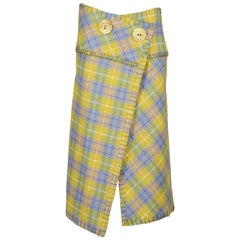 John Galliano green plaid wool blanket wrap skirt, aw 2000