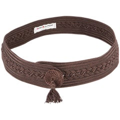 Yves Saint Laurent Brown Braided Belt