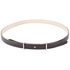 Black Hermes H Leather Belt