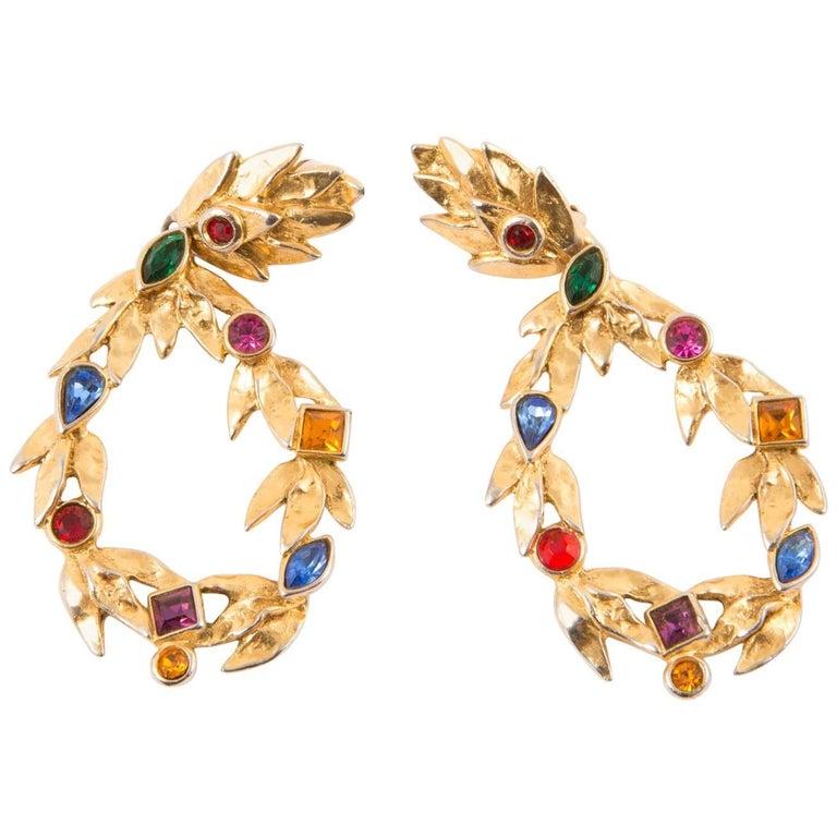 Saint Laurent Multico Drop Gold Tone Clip On Earrings For Sale