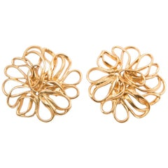 Yves Saint Laurent Flower Gold Tone Clip On Earrings