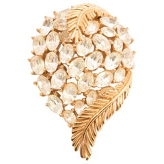 Trifari Gold Tone and White Crystal Brooch