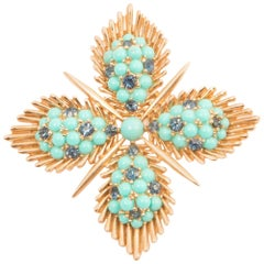 Trifari Turquoise and Gold Tone Large Brooch