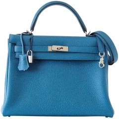 Hermes Kelly 32 Bag Vivid Blue Izmir Clemence Leather Palladium