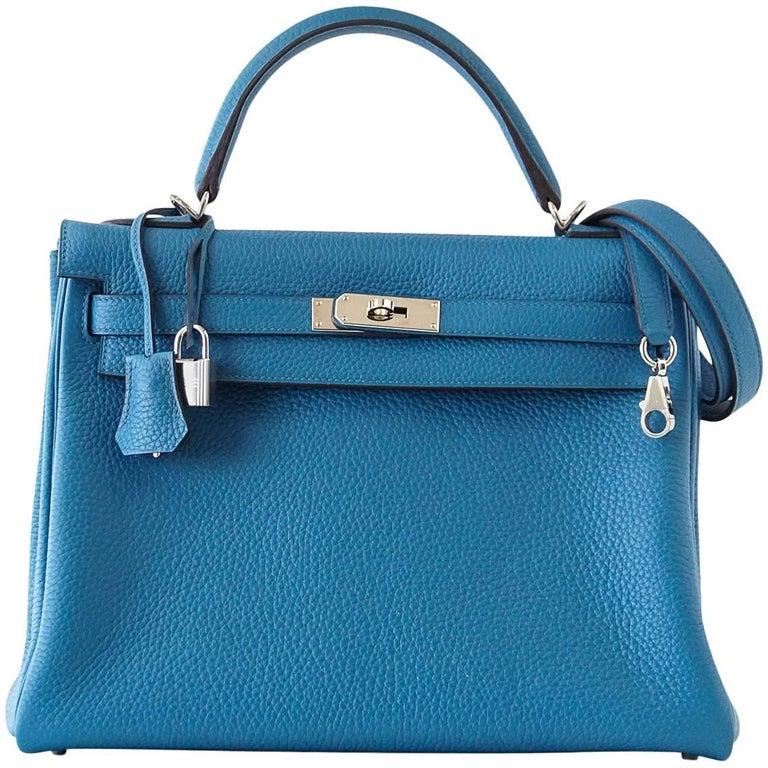 Hermes Kelly 32 Bag Vivid Blue Izmir Clemence Leather Palladium