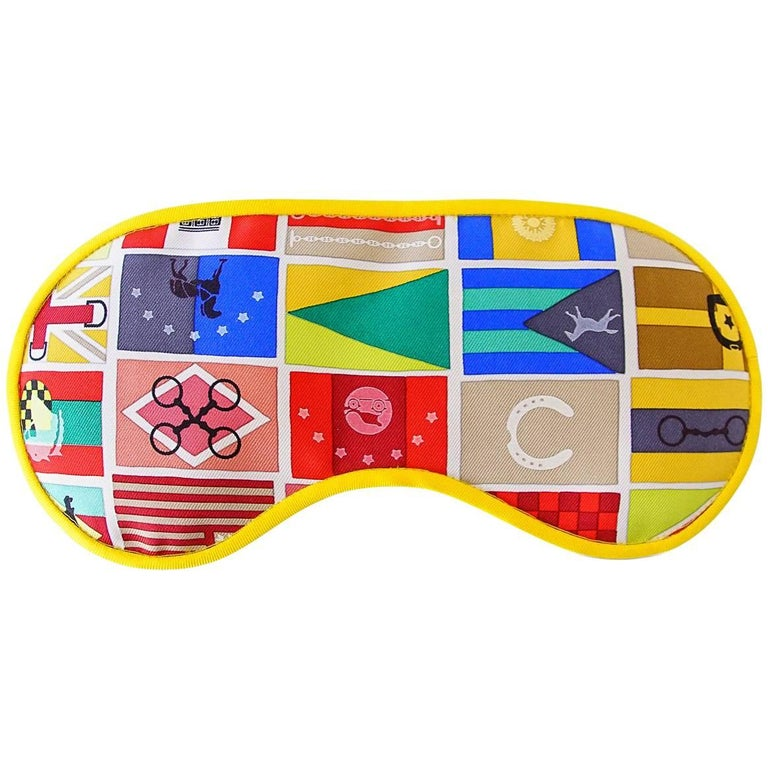 Hermes Sleep Eye Mask Multicolor Silk Petite h Jaune Flag Motif