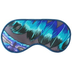 Hermes Sleep Eye Mask Multi Color Silk Petite h Vibrant Feathers