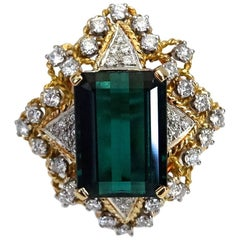 10 Carat Green Tourmaline Diamond Cocktail Ring