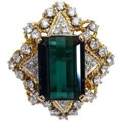 Tourmaline Green Diamond Cocktail Ring