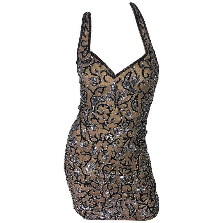 Vintage Oleg Cassini 1990s Black + Nude Beaded Silk Mini 90s Halter Dress Size 2
