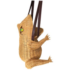 Whimsical 1960s Rare Italian Frog Toad Novelty Wicker Vintage 60s Hand Bag Purse