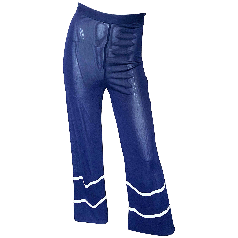 Jean Paul Gaultier Vintage Navy Blue White Semi Sheer Wide Leg Nautical Pants