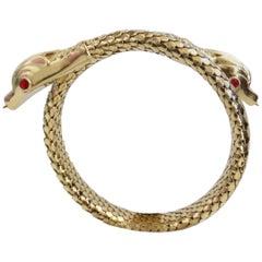 18 Karat Gold Double Headed Serpent Wrap-Around Bracelet