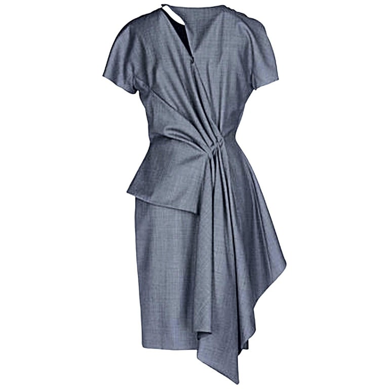 Christian Dior by John Galliano Size 10 / 42 Lightweight Wool Avant Garde Dress For Sale