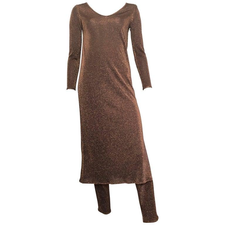 Richard Assatly Copper Bronze Metallic Fabric Dress with Pants