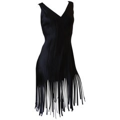 1980s Black Ribbed Carwash Fringe Cocktail Dress