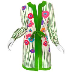 Oscar de la Renta 1960s Ivory Wool + Green Suede Mod Flower Print Jacket Dress