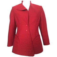 Thierry Mugler 1990s Red Wool Sculptural Jacket Size 8.