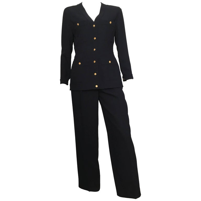 Chanel 1980s Navy Gabardine Wool Pant Suit Size 4.