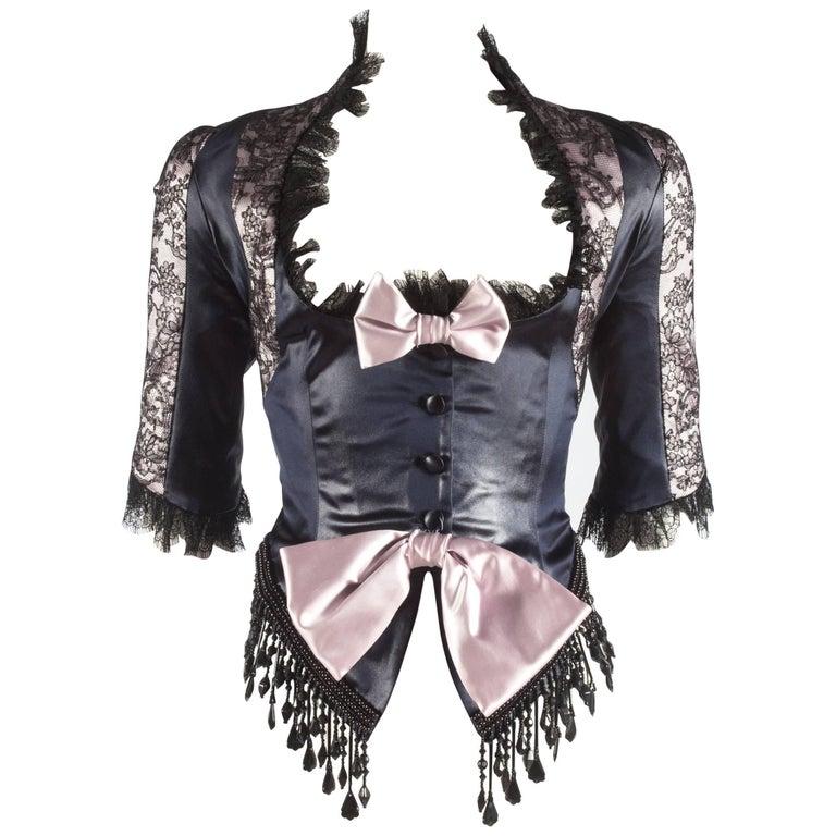 John Galliano black acetate and lace fringed evening jacket, ss 1994