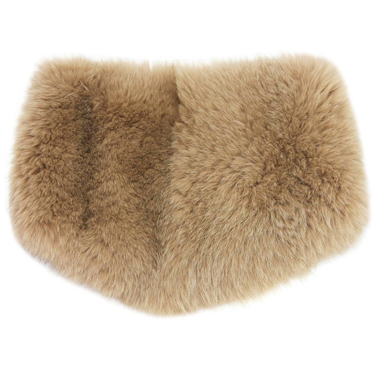 New GUCCI Fox Fur and Wool Ring Wide Scarf Dark Beige