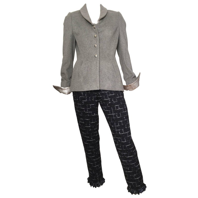 Wes Gordon Grey Wool with Silver Leather Pant Suit is Size 8.