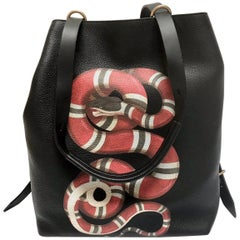 Gucci Backpack for Men's in Black Leather with Red Serpent 2017