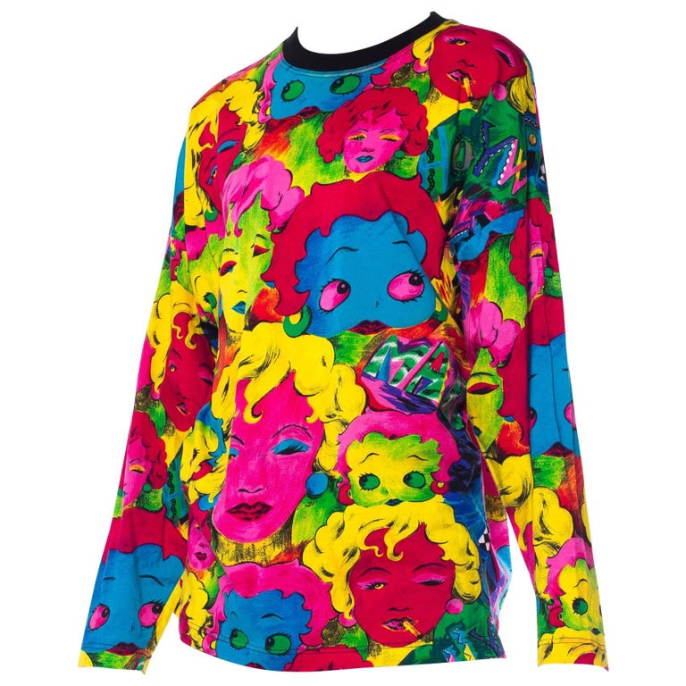 1990s Versace Pop-Art Marilyn & Betty Boop Print Shirt