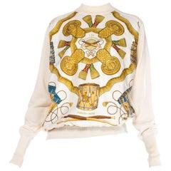 Hermes Gold Epaulet Printed Blouse