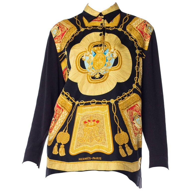 Hermes Royal Crest and gold Tassel Printed Blouse