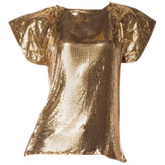 Ferrera Gold Metal Mesh Top, 1980s