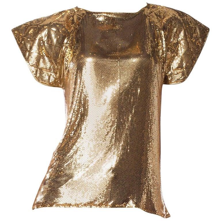 Ferrera Gold Metal Mesh Top, 1980s