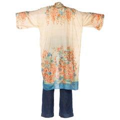 Japanese Silk Kimono Dressing Robe, 1920s