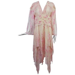 Zandra Rhodes cream and pink silk star asymmetrical hem dress dated 1989