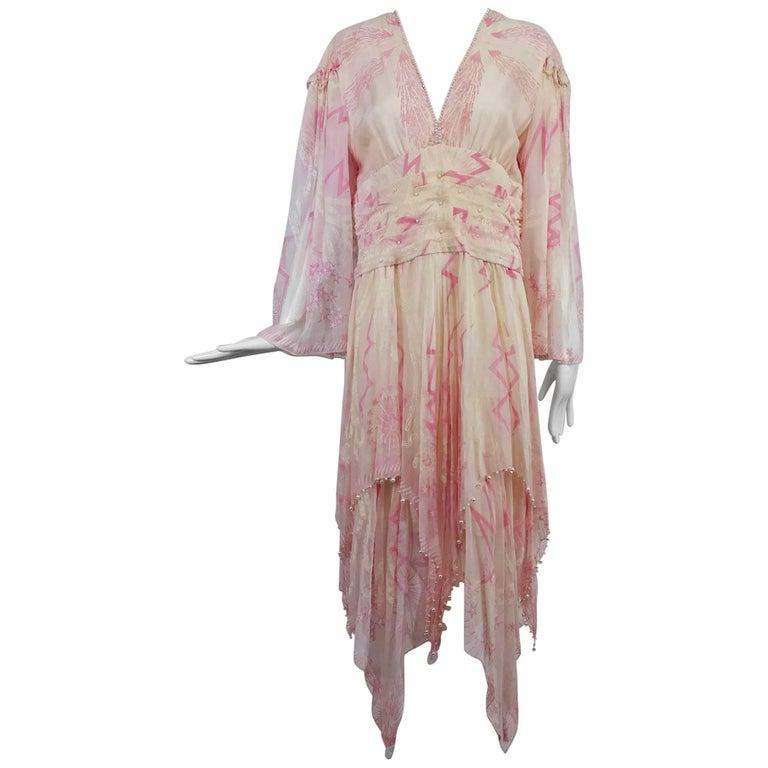Zandra Rhodes cream and pink silk star asymmetrical hem dress dated 1989