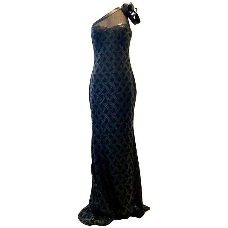 Badgley Mischka Leather & Lace Sequin Asymetrical Evening Gown NWT