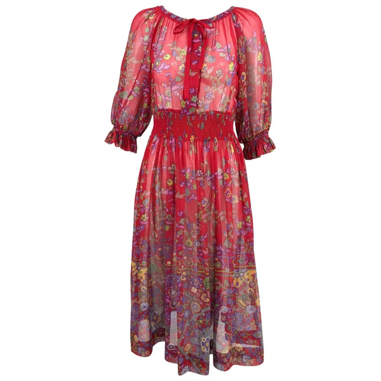 Ted Lapidus floral cotton voile peasant style dress 1970s