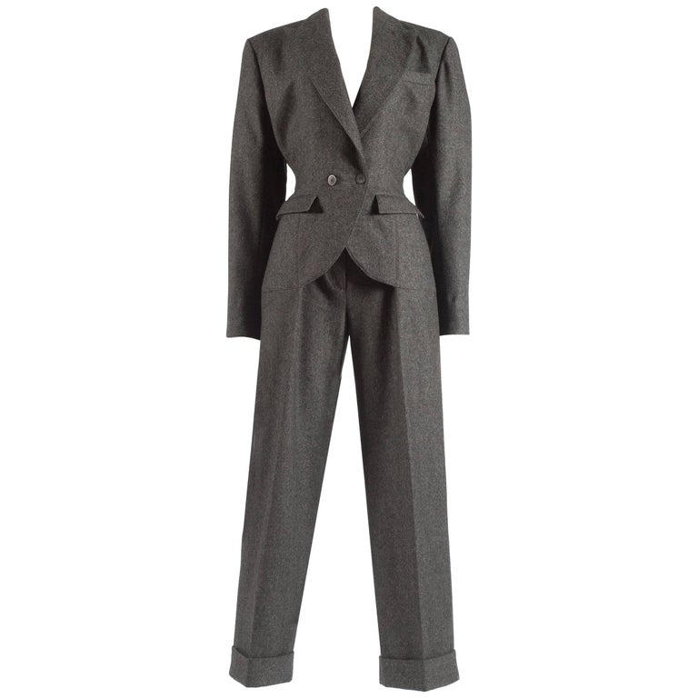 Azzedine Alaia charcoal wool double breasted jumpsuit, A/W 1987