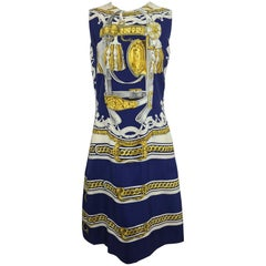 Hermes printed silk twill sheath dress 1970s 42