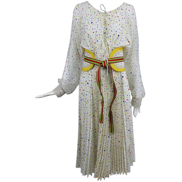 Koos Van Den Akker confetti printed dress and wide belt 1980s For Sale