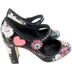 "Dolce & Gabbana ""Mary Jane"" Mixed Flowers on Black Leather High Heel Shoes, 2017"