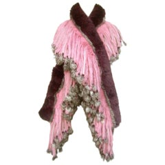 Luxurious Rex Chinchilla Pastel Dyed Rabbit Fur Fringe Wrap 21st C