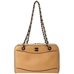 Chanel Early 2000 Beige and Black Calfskin Shoulder Bag With Long Handles