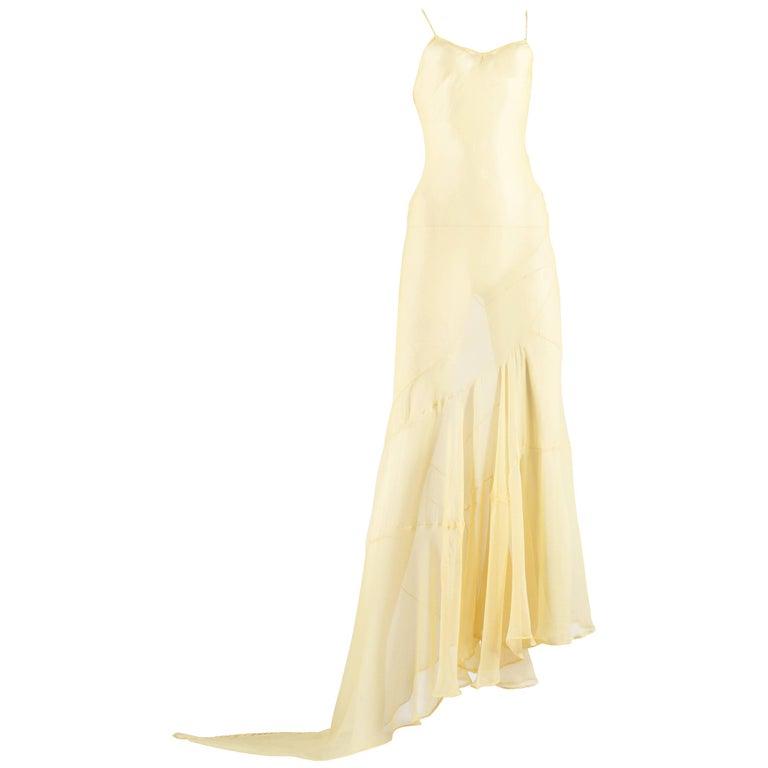 a18a32a7bb8b John Galliano lemon silk chiffon bias cut evening slip dress, ss 1993 For  Sale