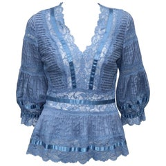 Catherine Malandrino Romantic Blue Lace Blouse With Pin Tucking